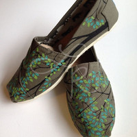 Branching out- hand painted on TOMS shoes-made to order-cutomize the colors