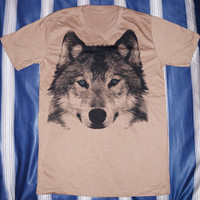 Wolf T-Shirt Fox T-Shirt -- Wolf Shirt Wolf Blue Eyes Animal Shirt Brown Shirt Women T-Shirt Men T-Shirt Unisex T-Shirt Animal Shirt Size M