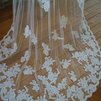 Couture Alencon Lace Mantilla Wedding Veil by RetroVintageWeddings