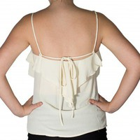 Cream Ruffle Tank - Tops