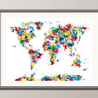 Paint Drops Map of the World Map Art Print