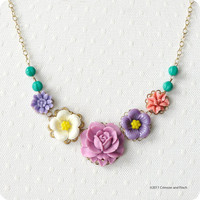 $34.07 Purple Turquoise Flower Cabochon Necklace GF by crimsonandfinch