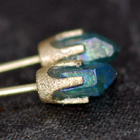 Little Aqua Aura Quartz Points in Textured 14k by Specimental