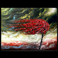 tree painting cloud blowing wind landscape large 22 x by mattsart