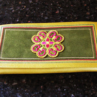 dead stock Princess Gardner embroidered mustard yellow leather wallet with gift box. small clutch. Valentines day gift for her