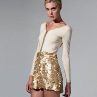 Gold Cocktail Dress - Gold Sequins Two piece dress | UsTrendy