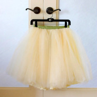 Ivory short tulle skirt. Fluffy tulle layers with circle skirt satin lining.  Your choice of length & ribbon sash color