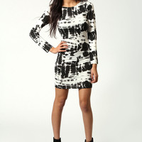 Summer Monochome Splatter Print Bodycon Dress