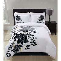 Grand Bedding- -Lotuss Floral Flocking 4pc Comforter Set-Bed & Bath-Decorative Bedding-Comforters & Sets
