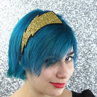 Golden Lightning Bolt Glitter Headband Gold and by JanineBasil