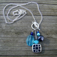 ocean mosaic  blue &amp; silver beaded necklace by MamasNestDesigns