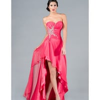 2013 Prom Dresses- Hot Pink Strapless Chiffon Gown - Unique Vintage - Cocktail, Pinup, Holiday &amp; Prom Dresses.