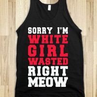 White Girl Wasted Right Meow (Dark Tank)-Unisex Black Tank