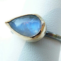 rainbow moonstone ring - 14k gold filled bezel and blackened sterling silver setting - two tone ring -rainbow moon stone