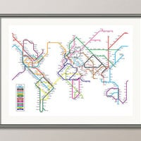 World Map as a Tube Metro System Art Print 