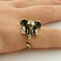 Gold Elephant Wrap Ring - SIZE 8