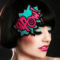 KAPOW Headband Cartoon Style Turquoise & Hot Pink by JanineBasil