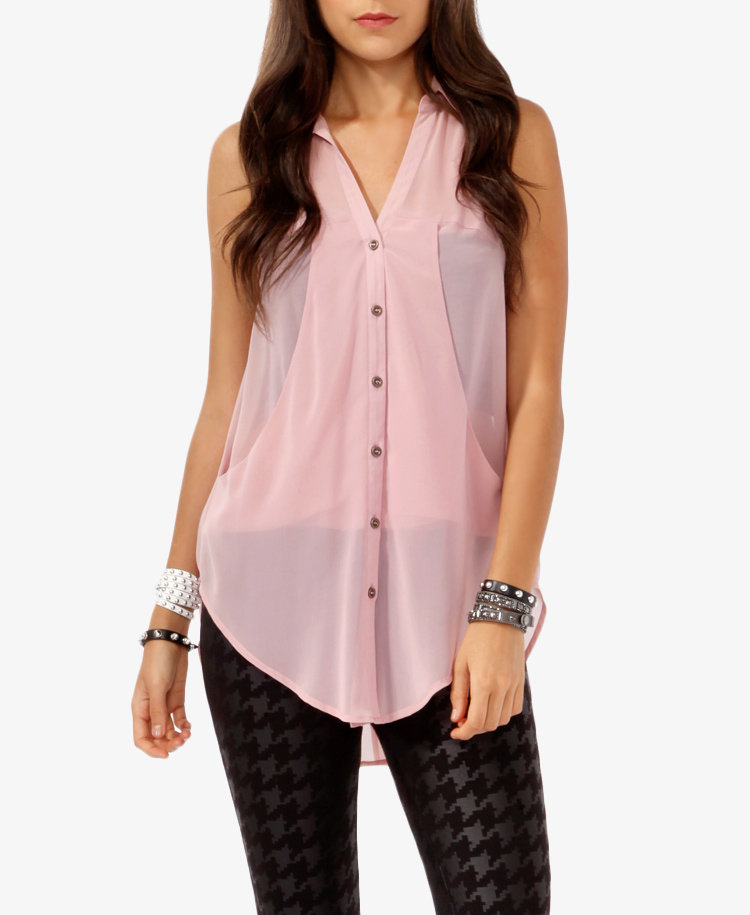 Sleeveless Draped Panel Shirt