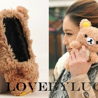 Cool plush RILAKKUMA toy doll Case Cover for brown BEAR iPhone 4 4S 3 3G
