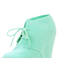 Bamboo Debrah01 Mint Laced Hidden Wedge Booties and Shop Boots at MakeMeChic.com