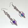 Purple/Green/Blue Bead Dangle Chainmaille Earrings