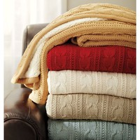 Cozy Cable-Knit Throw | Pottery Barn