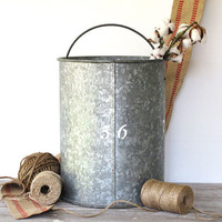 Vintage Tall Metal Bucket - Galvanized Grey -Cottage - Prairie - Farmhouse - Display