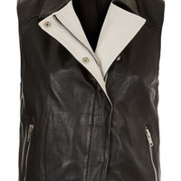 Contrast Leather Sleeveless Biker Jacket - New In