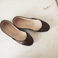 Soft Leather Ballet Flats Chocolat by thewhiteribbon on Etsy
