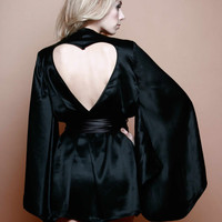 Sophia Black silk kimono Robe pure with heart cut by Lalilouche