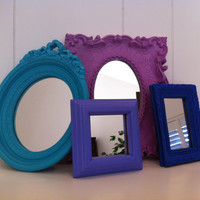 Upcycled Mirrors, The Emperors New Clothes, Cobalt, Blueberry, Lilac, Vintage Mirrors, Unique Home Decor
