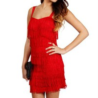 Red Fringe Flapper Cocktail Dress