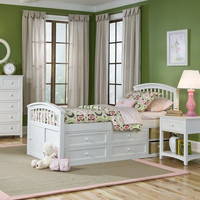 Captains Bed in Twin or Full | Basics White Collection | Birch Hardwood | FOW