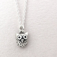 Very tiny owl necklace - silver owl jewelry small pendant eco friendly