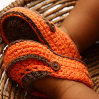 Orange & Brown Loafers by GibsonBaby on Etsy