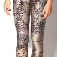 Middle Earth Map Leggings | Black Milk Clothing