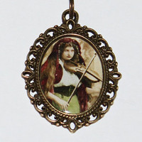 Gypsy Violin Lady Necklace