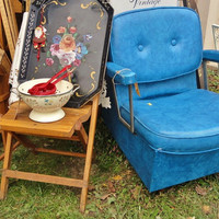 Vintage Salon Chair in Brilliant Blue Vinyl by rustbelttreasures