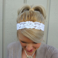 Classic white stretch lace headband - feminine - romantic - classic