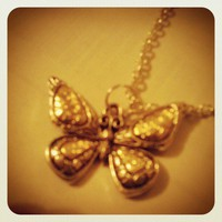 Gold &amp; Antique Silver Butterfly necklace from Wild Ivy