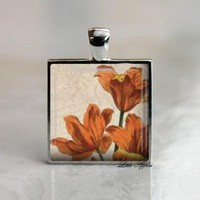 Vintage Gift Orange Lilies Square Glass Tile Silver Necklace Keychain