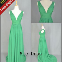 V-neck Straps Sleeveless Floor-length Chiffon Pleated Sashes Long Prom/Evening/Party/Homecoming/Bridesmaid/Cocktail/Formal Dress