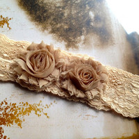 Shabby chic champagne mocha lace headband with chiffon blossoms.
