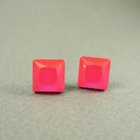Neon Pink Earring Studs - Square Fuchsia Earring Posts - Faceted Rhinestone Earrings - Neon Jewelry
