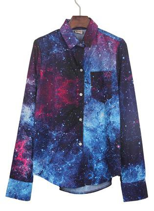 Navy Wing Collar Galaxy Print Curved Hem Blouse S055