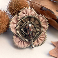 Flower Brooch , Apricot and French brown,Zipper Pin. Approx 2,6 in/7 cm.- eco friendly,Recycle jewelry