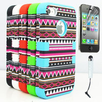 (5 Color) Stylus+3-Piece Hybrid High Impact Case Tribal Silicone For iPhone 4 4S