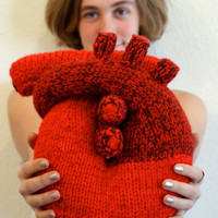Handknit I give you my heart Pillow Anatomical by TheTearySeal