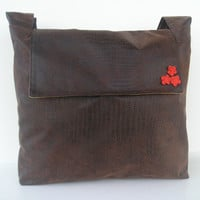 Shoulder/Messenger Bag in Faux Brown Leather with by jazzygeminis
