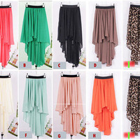 Women Girl Chiffon Sexy Elegant Asymmetric Long Maxi Skirt Elastic Waist Band